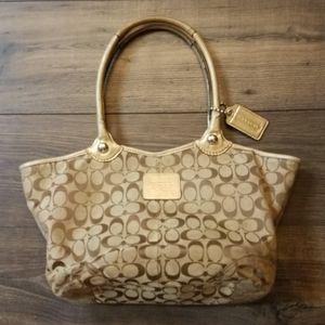 Coach | canvas signature hobo handbag